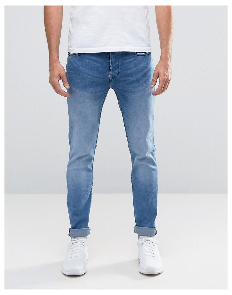 Only & Sons Light Wash Skinny Fit Jeans with Stretch - Light blue