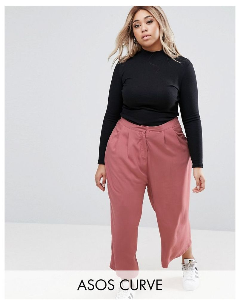 ASOS CURVE Pleat Front Culotte - Pink mnk