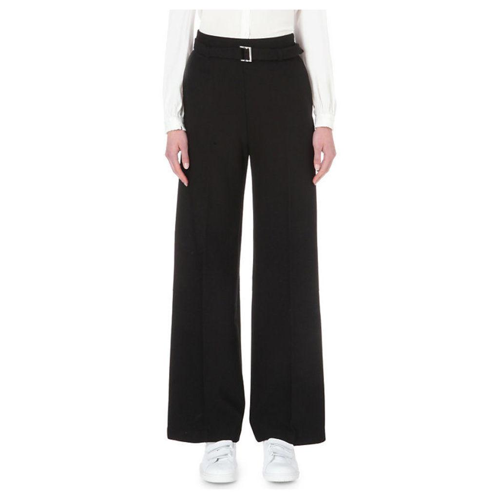 MAJE Parc wide-leg crepe trousers, Women's, Size: 6, Black