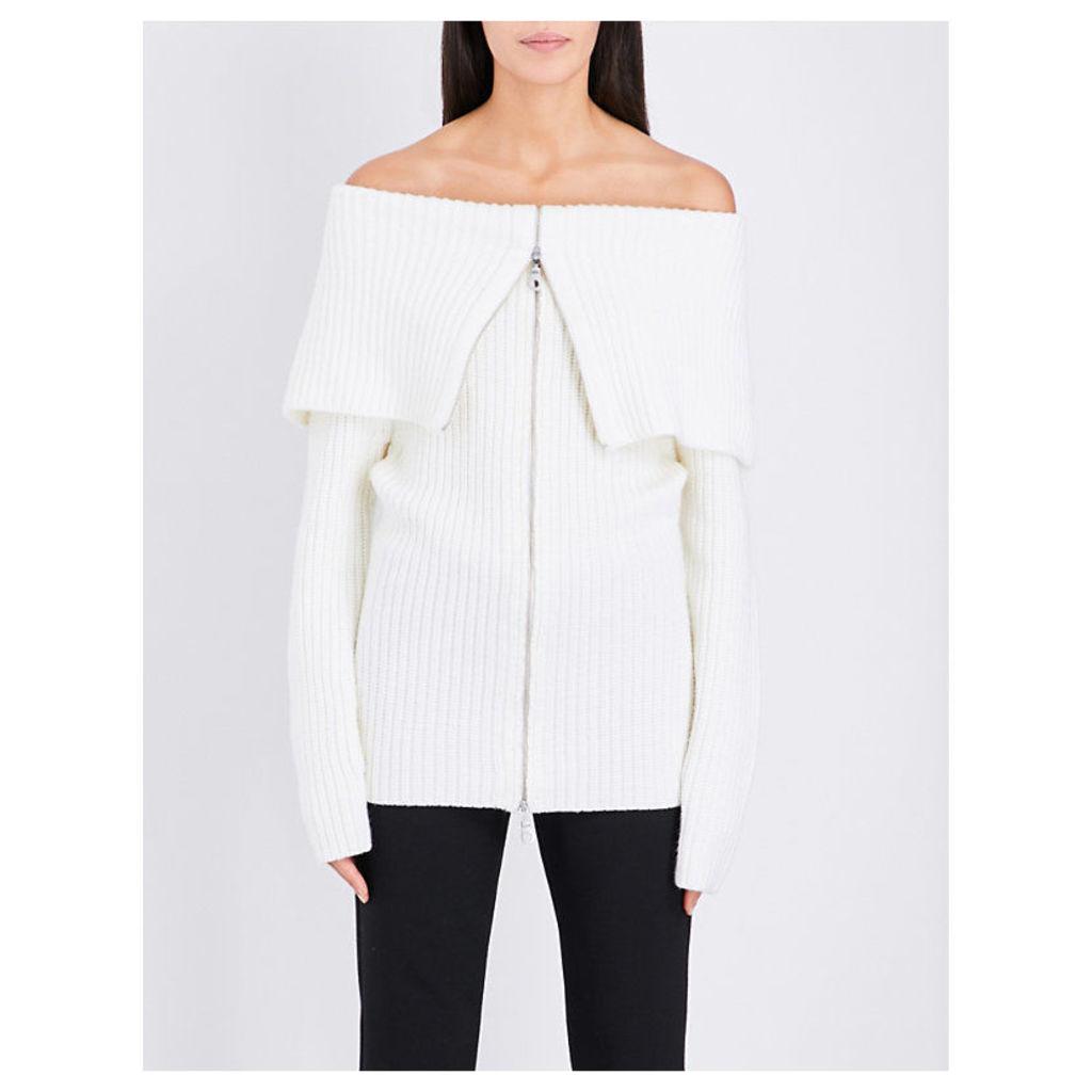 PAPER LONDON Cabin wool cardigan, Women's, Size: Large, Ivory