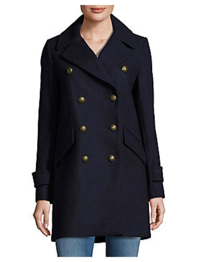 Solid Double-Breasted Wool Peacoat