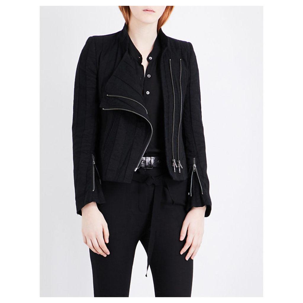 ANN DEMEULEMEESTER Farraday cotton and linen-blend jacket, Women's, Size: 8, Black