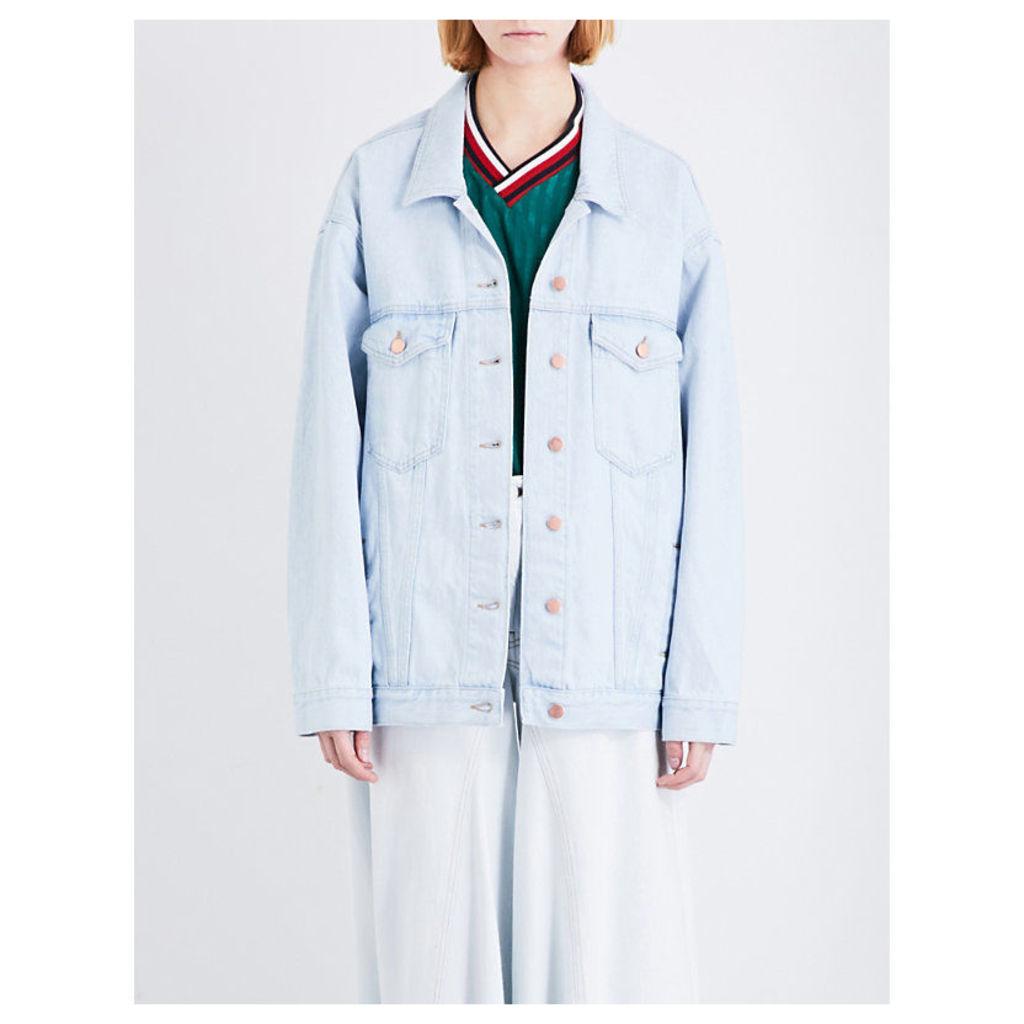 MARTINE ROSE Oversized denim jacket, Women's, Size: XS, Light Blue