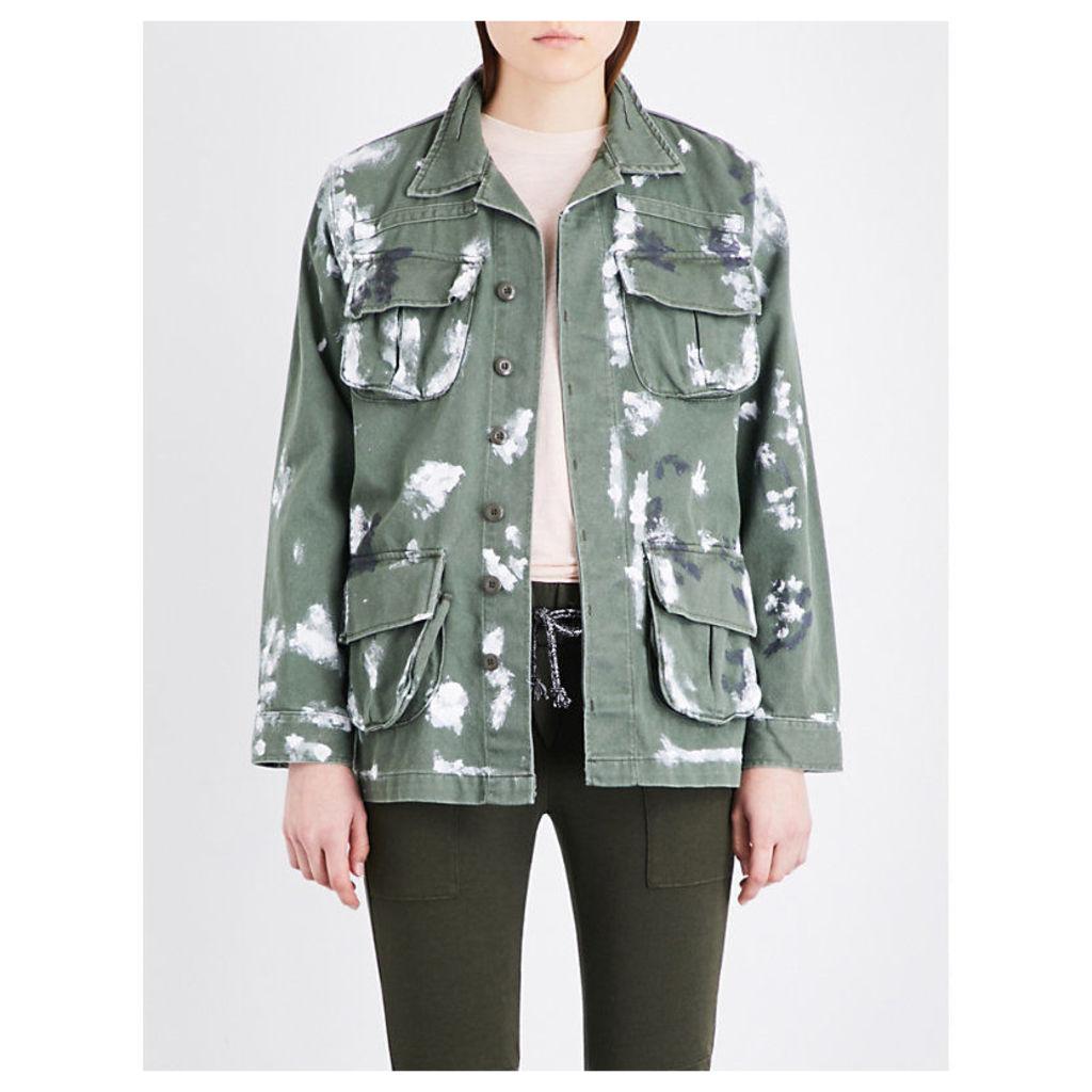 NSF Hunter paint-splatter denim jacket, Women's, Size: XS, Green