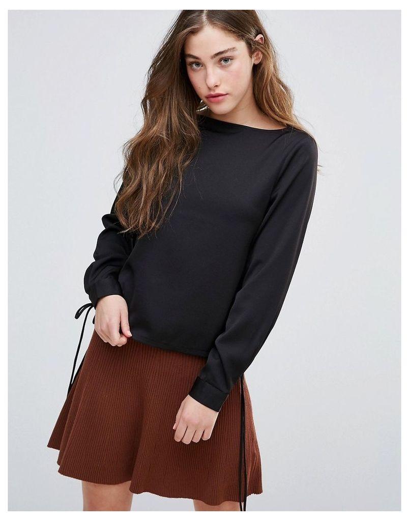 Glamorous Long Sleeve Top - Black