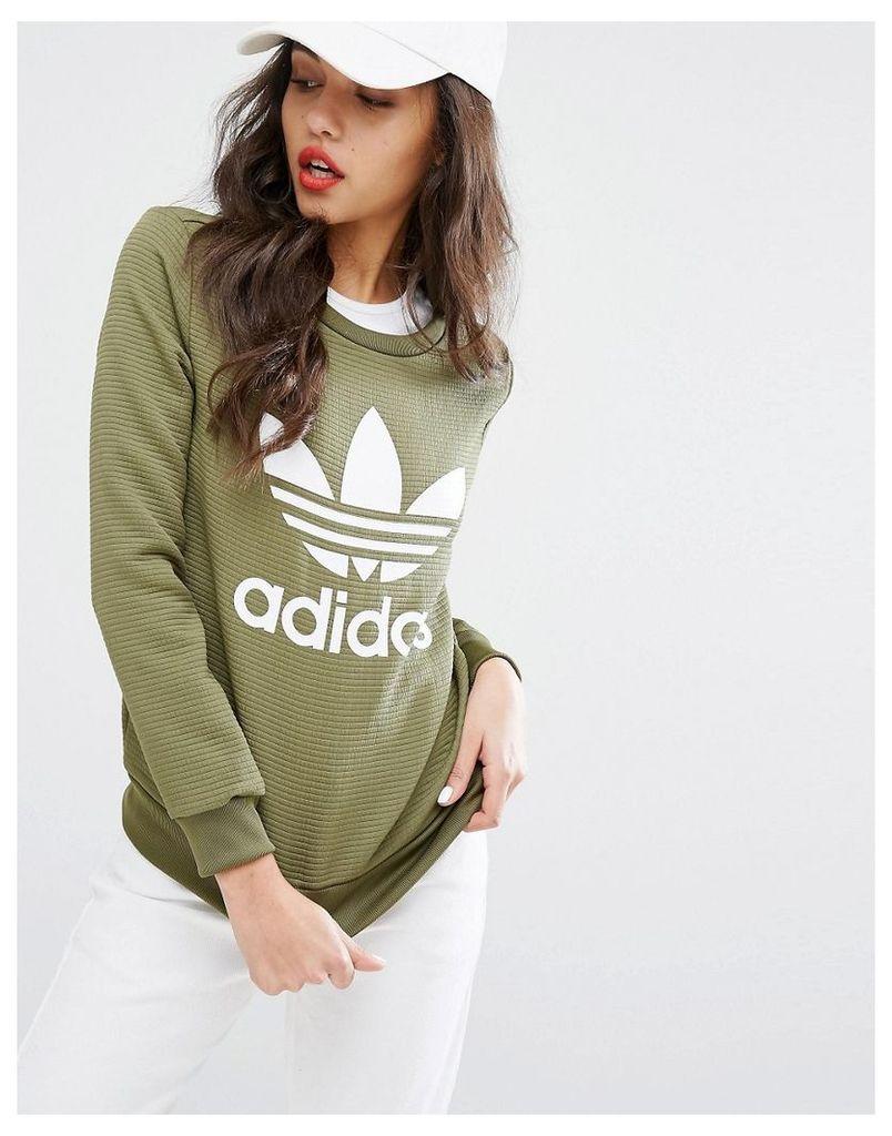 Adidas Originals Sweatshirt With Three Stripe Taped Waistband - Green