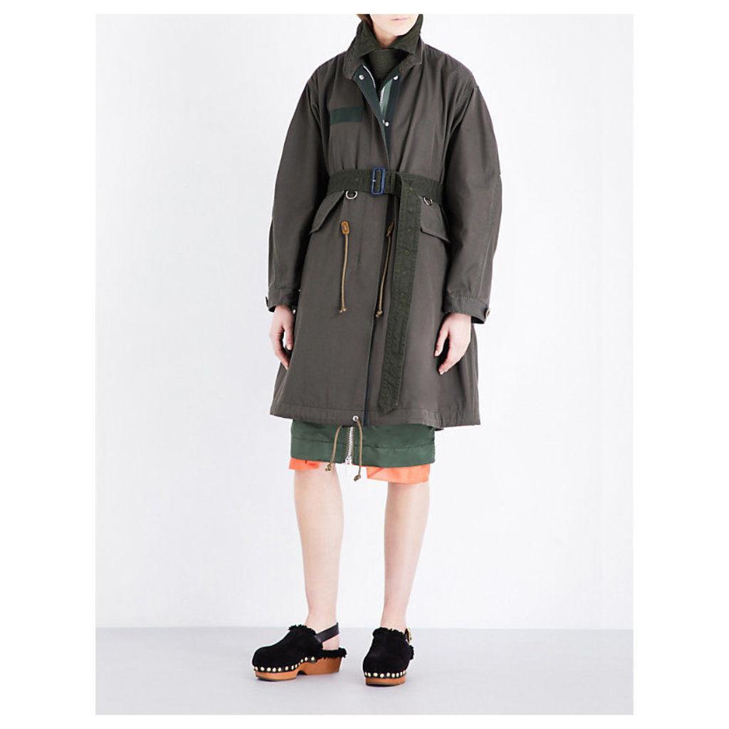 SACAI Cotton-blend jacket, Women's, Size: 3, Green
