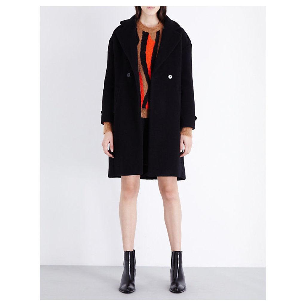 SANDRO Dory wool-blend parka, Women's, Size: 12, Noir