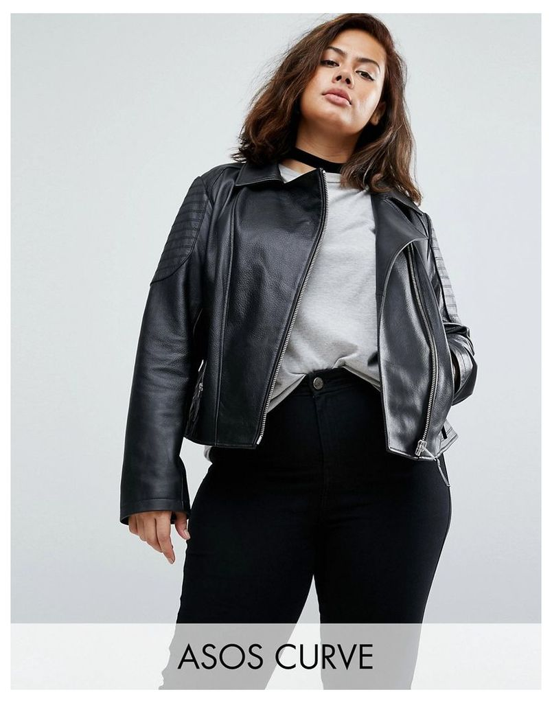 ASOS CURVE Ultimate Leather Biker Jacket With Quilting Detail - Black