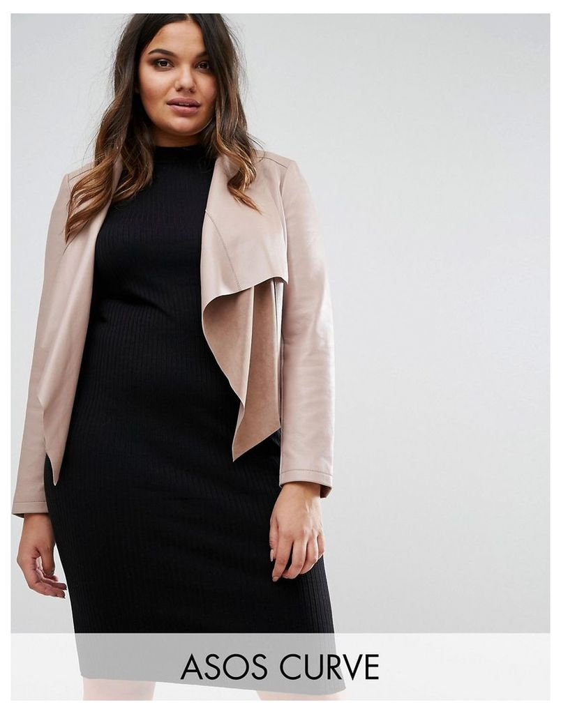 ASOS CURVE Leather Waterfall Jacket - Mink