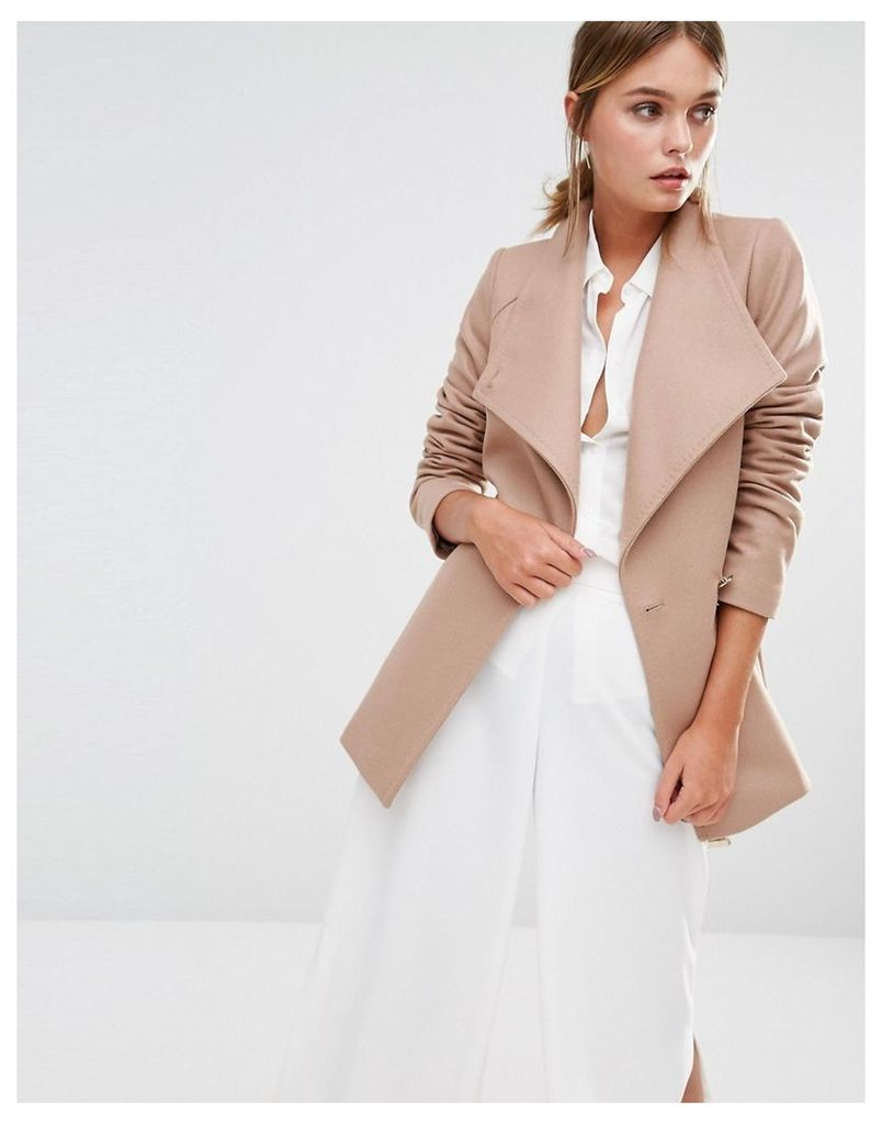 Ted Baker Elethea Short Wrap Collar Coat in Camel - Brown