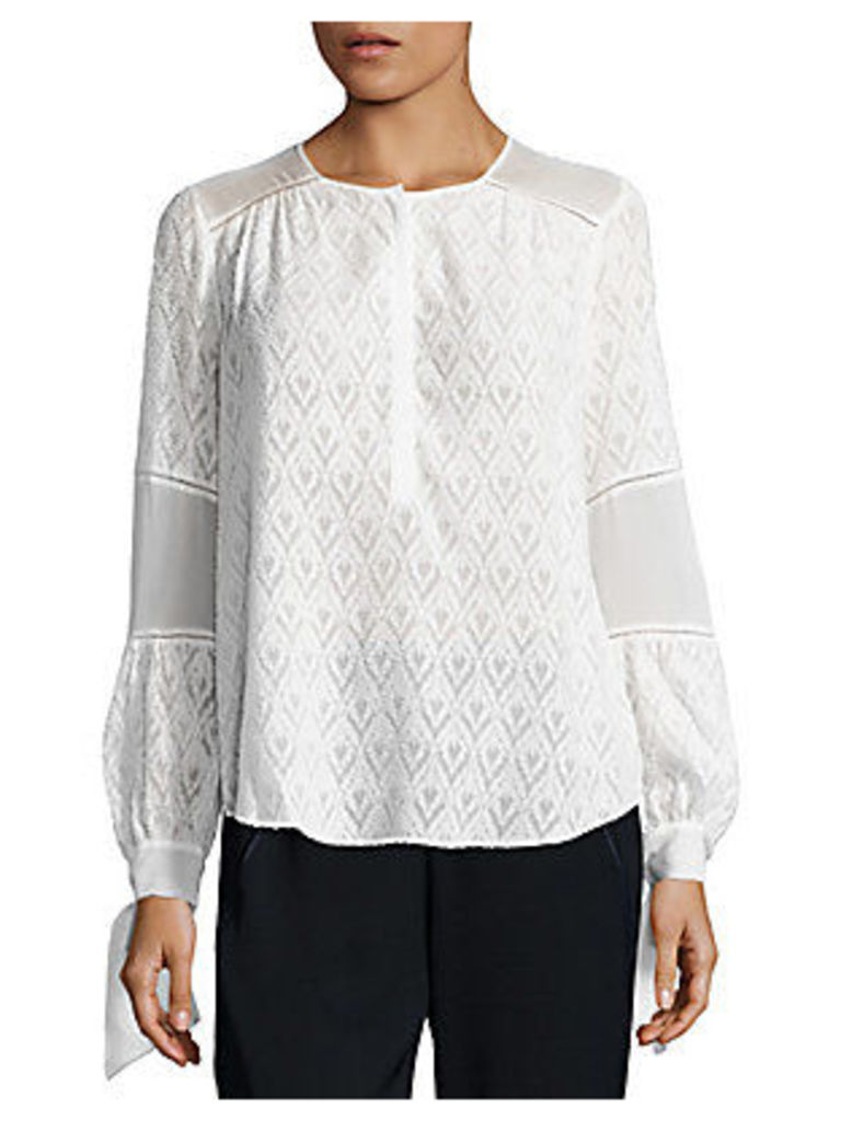 Lace Trimmed Silk Blend Blouse