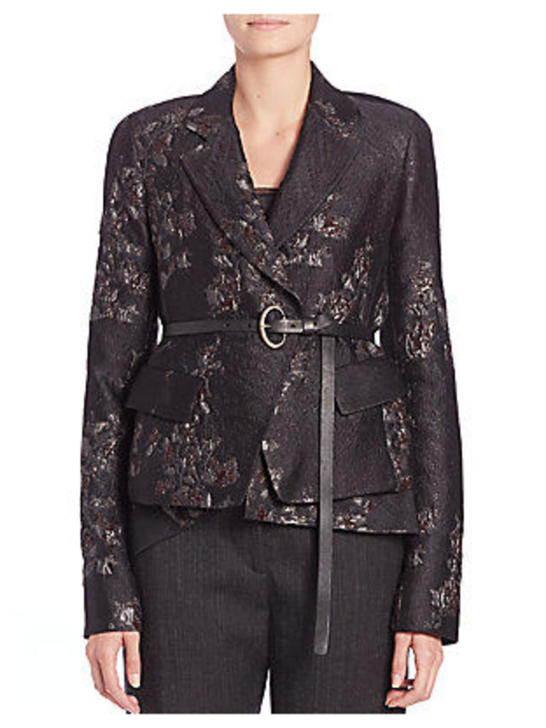 Metallic Embroidered Belted Jacket