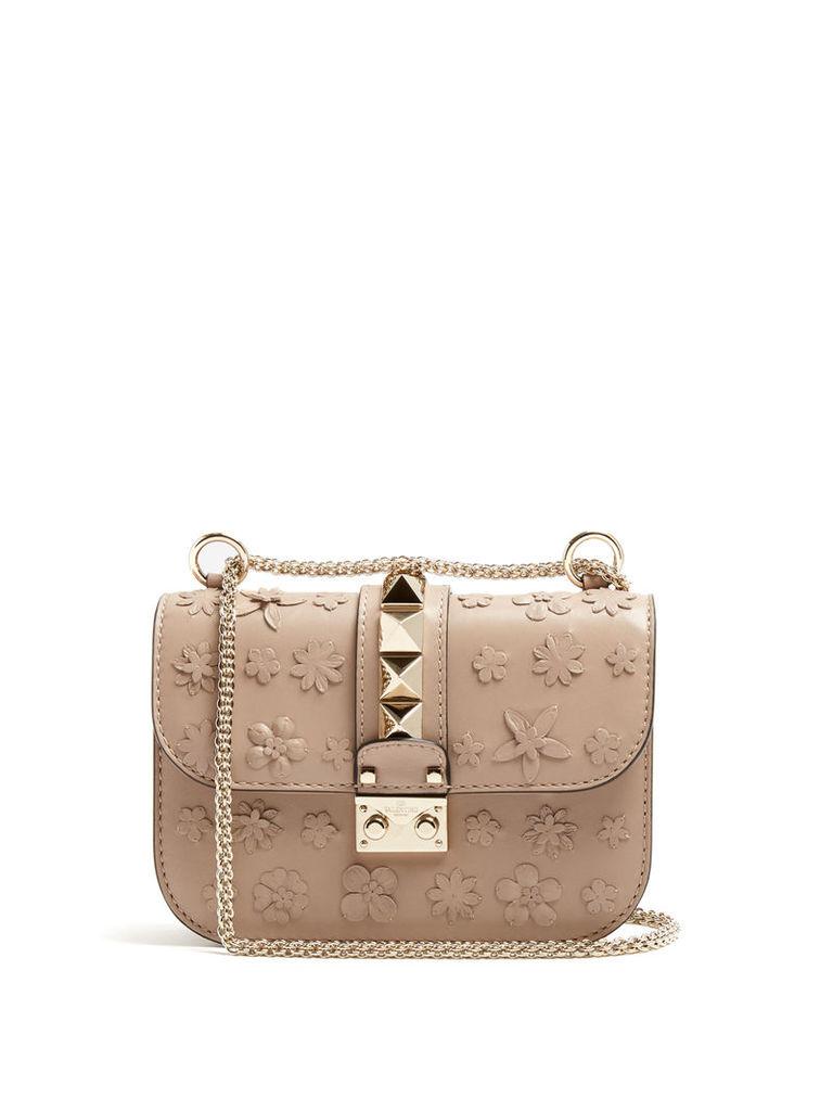 Floral-appliqué leather cross-body bag