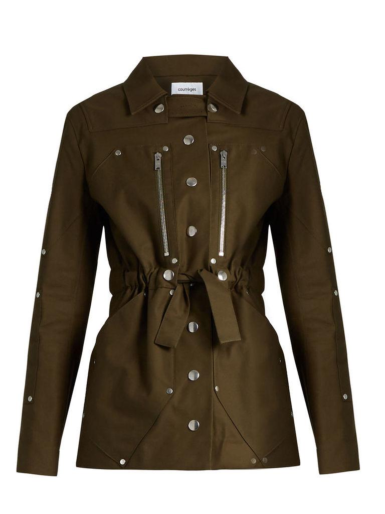 Belted stretch cotton jacket