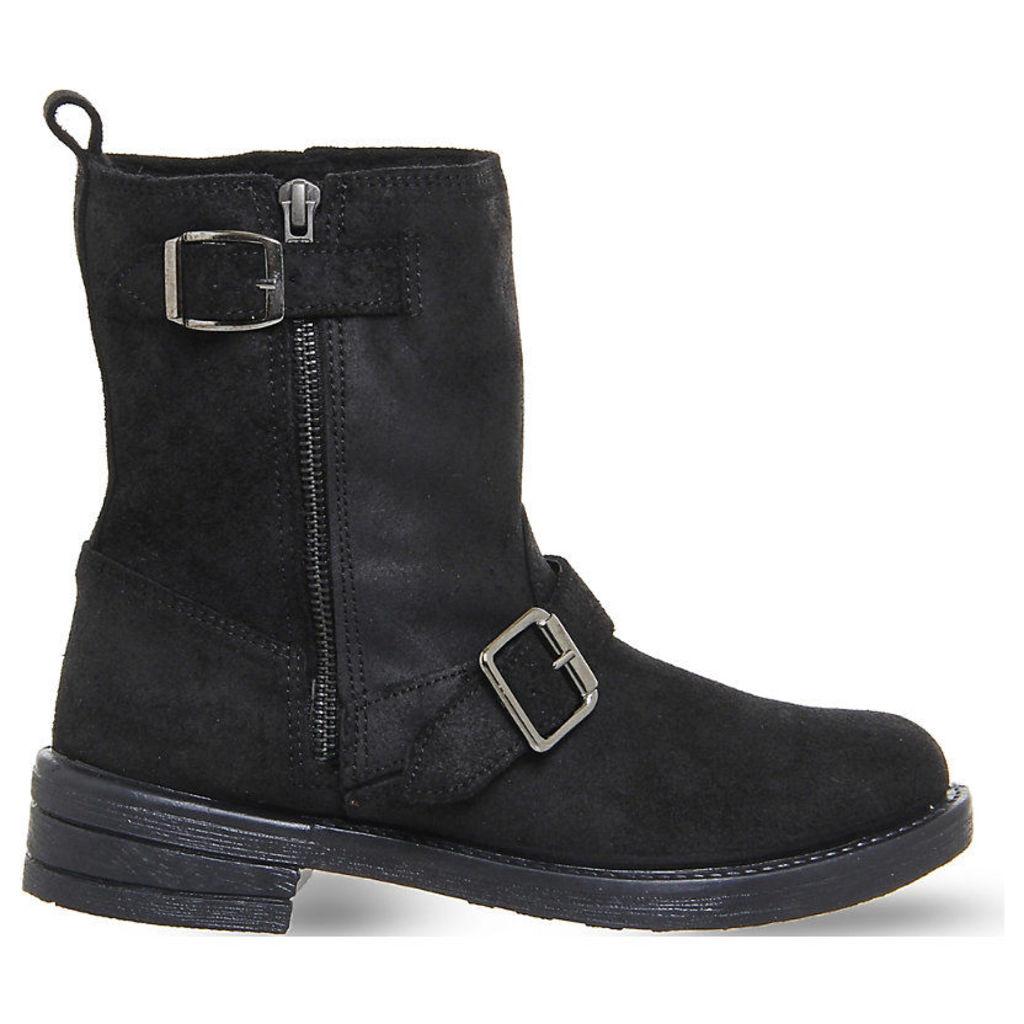 Lilo buckle biker boots, Women's, Size: 4, Black Suede