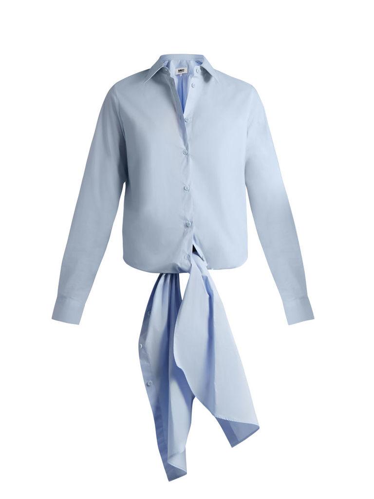 Point-collar tie-waist cotton shirt