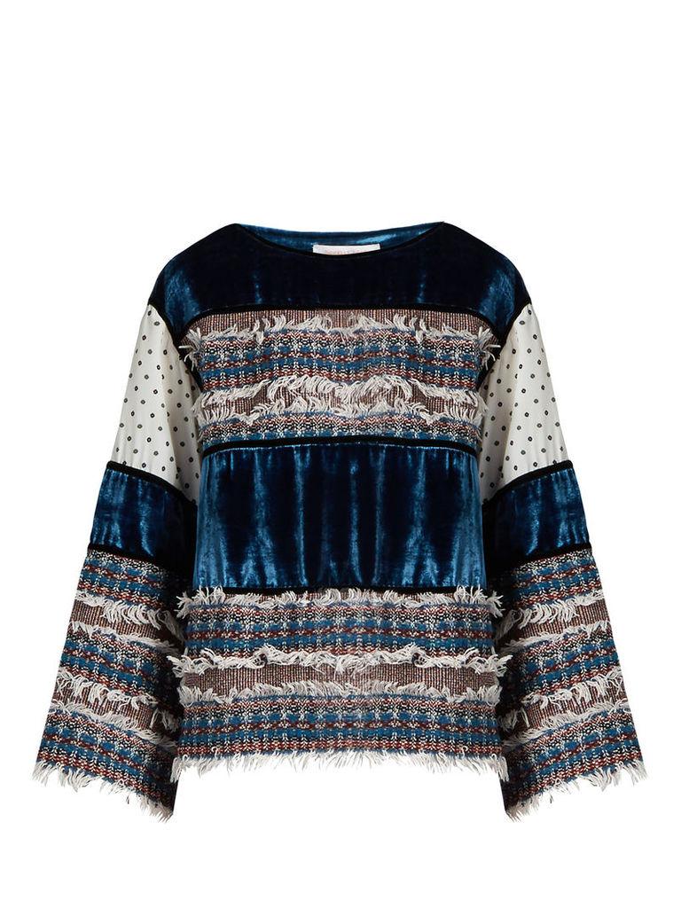Tweed and velvet-panelled top