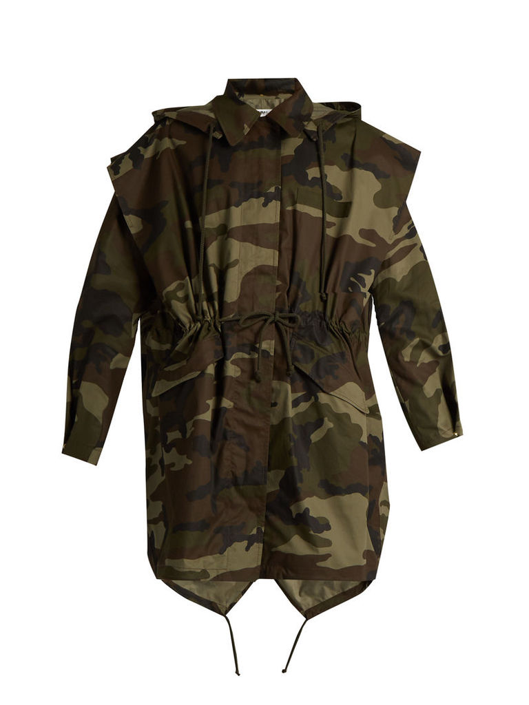 Camouflage-print hooded cotton jacket