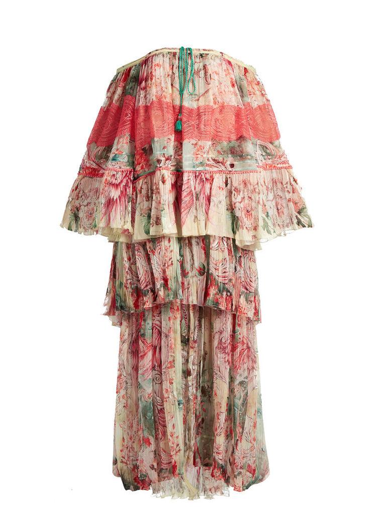Phoenix-print tiered pleated silk-chiffon gown