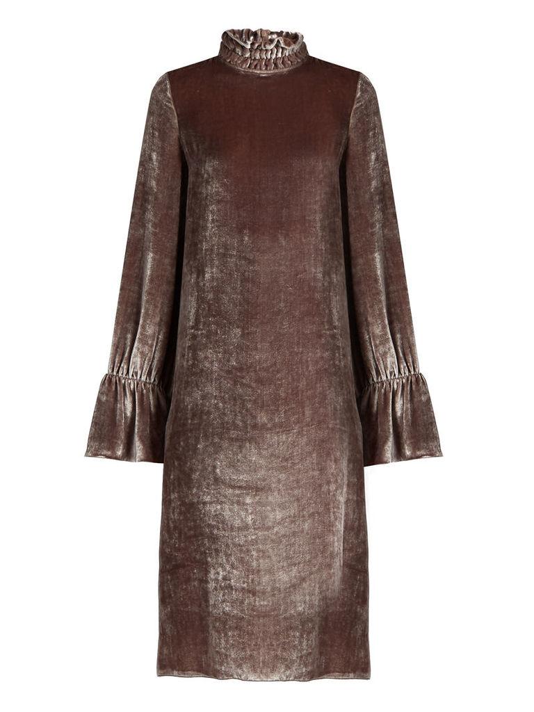 Smocked high-neck velvet dress