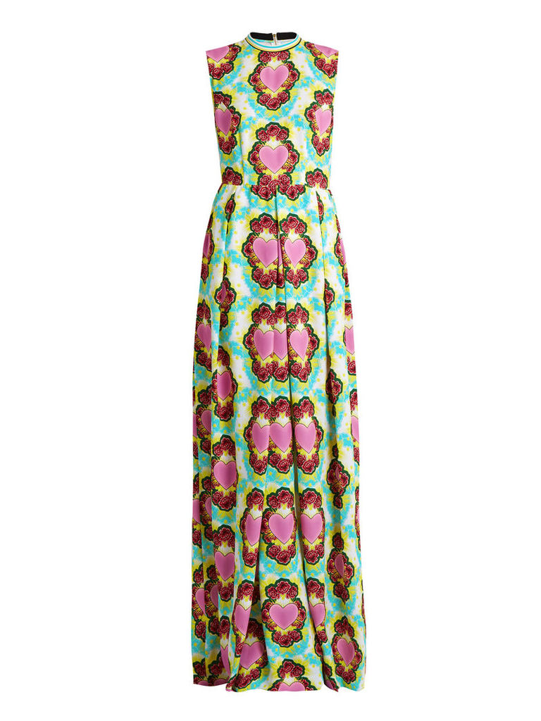 Heart and cloud-print crepe maxi dress
