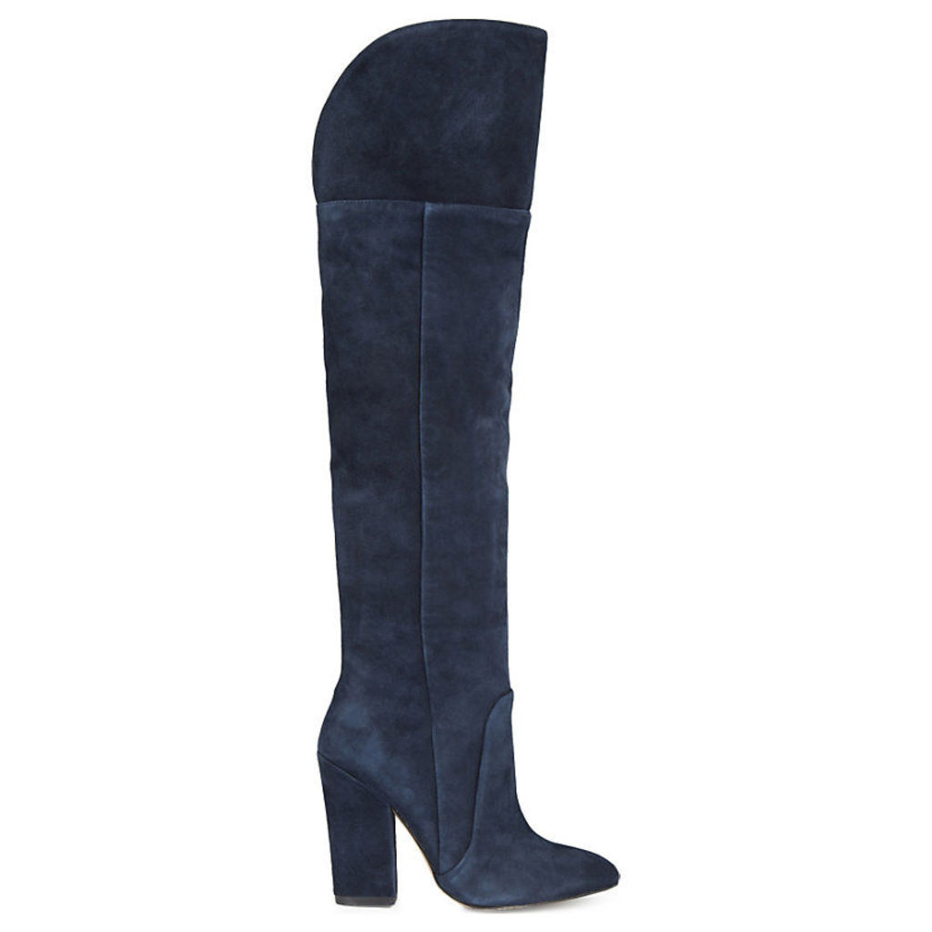 Leissa suede knee-high boots, Women's, Size: EUR 37 / 4 UK Women, Navy Suede