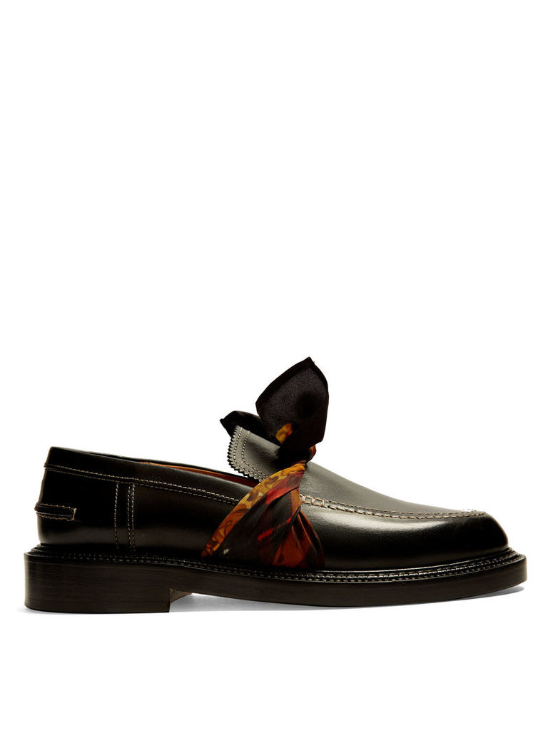 Silk-scarf tie-front leather loafers