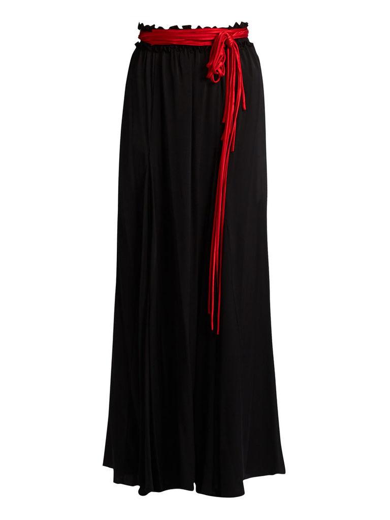 Milk waist-tie stretch-silk maxi skirt