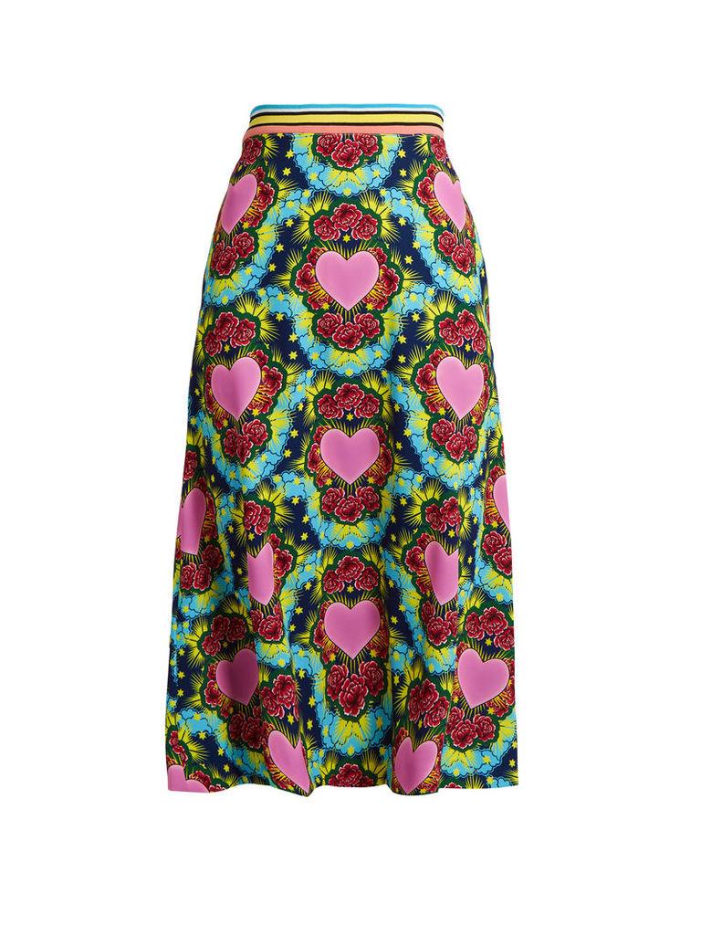 A-line heart-print crepe midi skirt