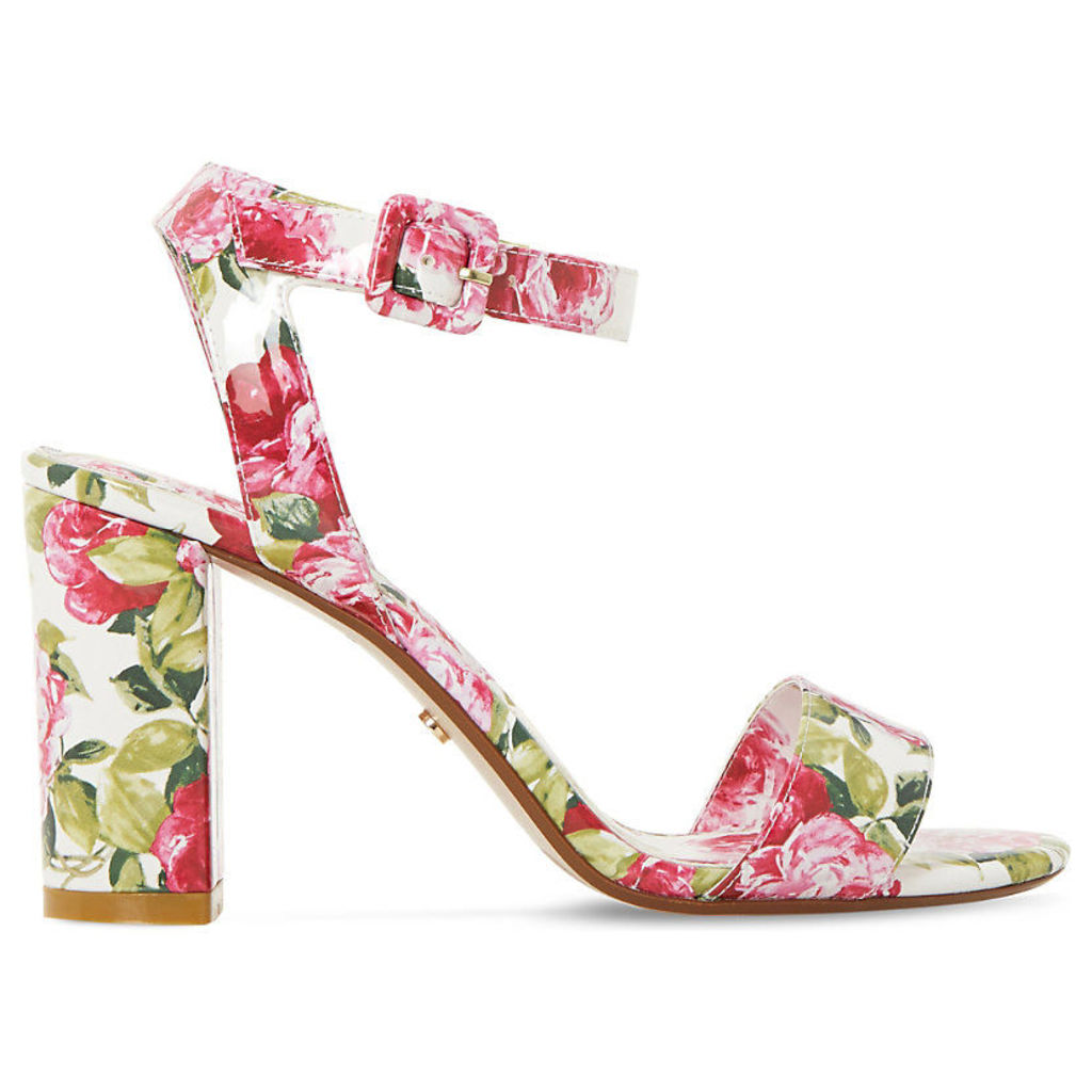 Marygold peony print heeled sandals, Women's, Size: EUR 38 / 5 UK Women, White-Patent
