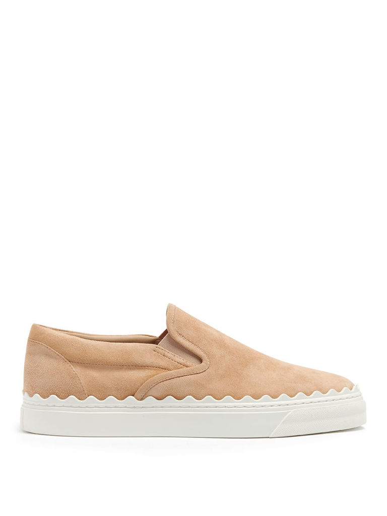 Kyle scallop-edged suede slip-on trainers