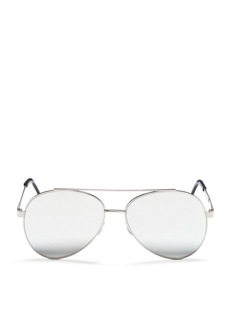 'Domina' flat mirror lens aviator sunglasses