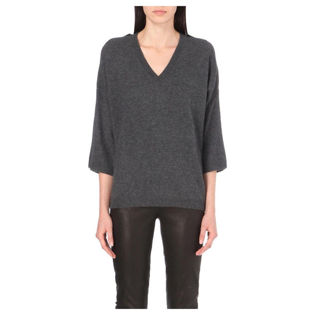 V-neck wool-blend jumper, Women's, Size: XXS, Grey