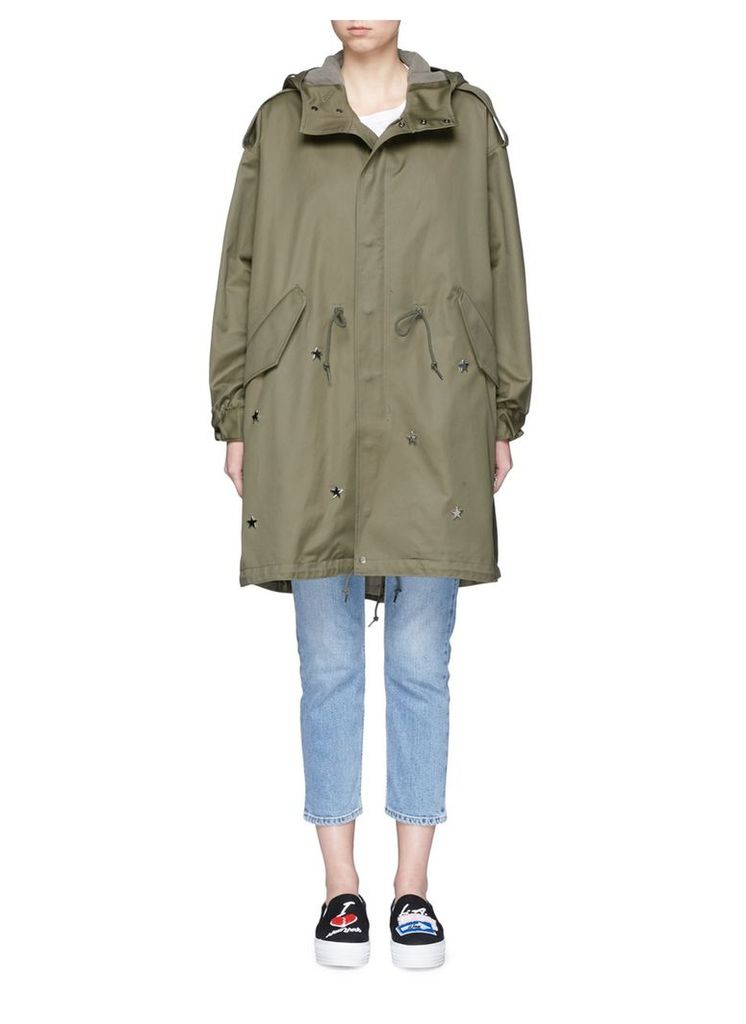 'JE T'ADORE' strass and star embellished parka