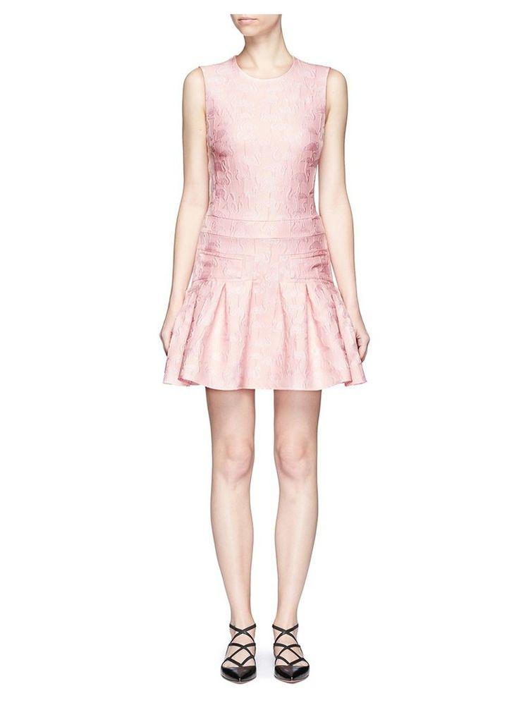 Flamingo jacquard peplum dress