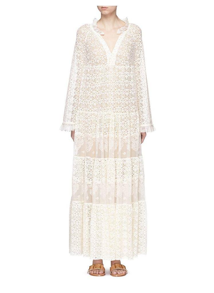 'Erika' ruffle collar lace dress