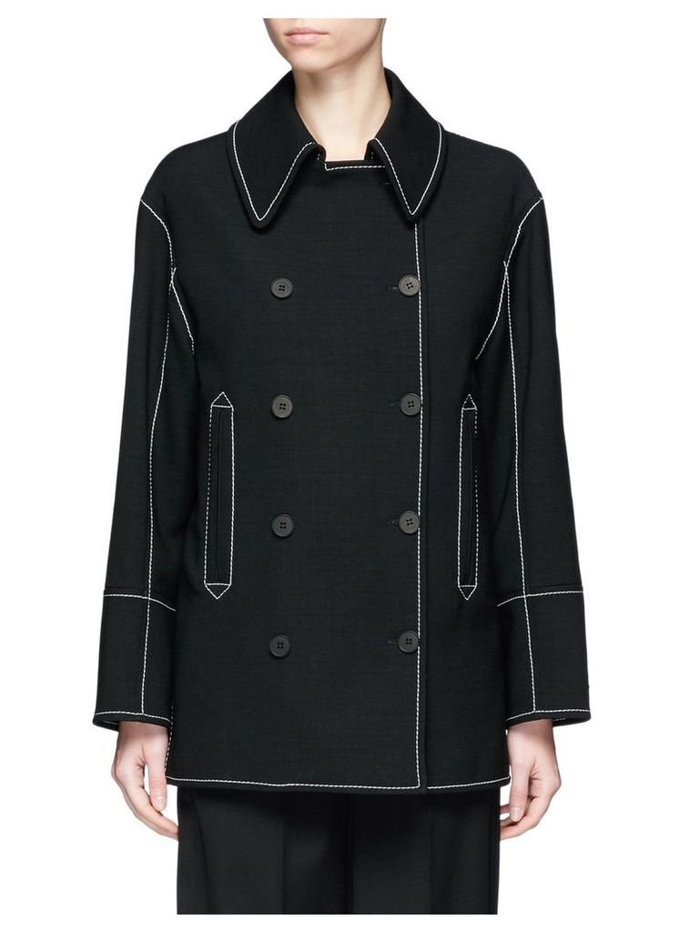 Contrast stitching double breasted wool jacket