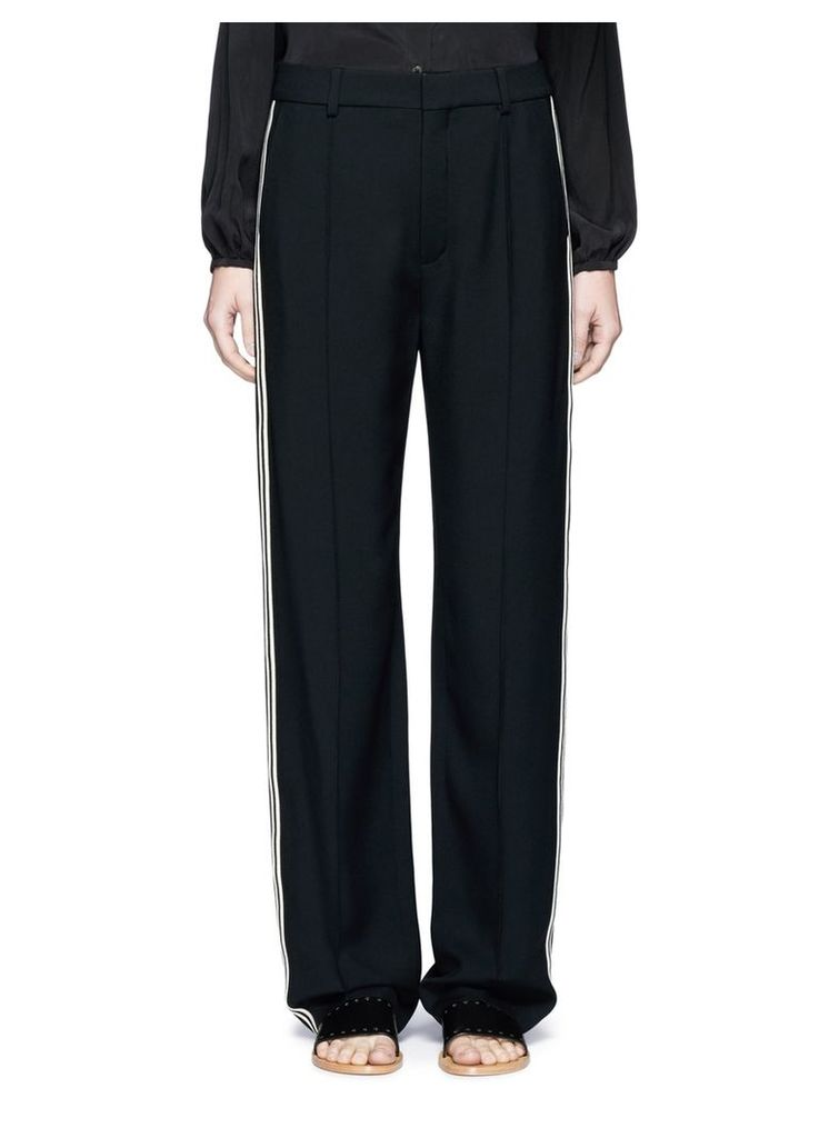Piped sport stripe cady pants