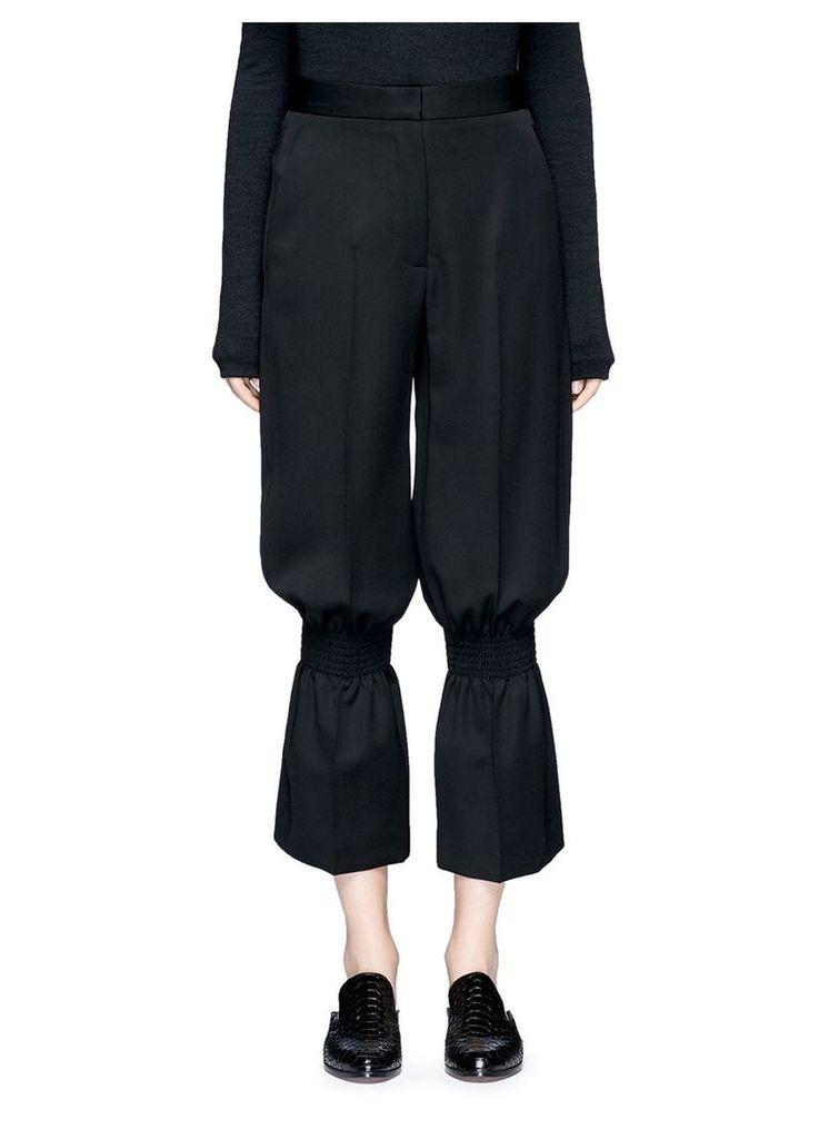 Smocked kick flare wool pants