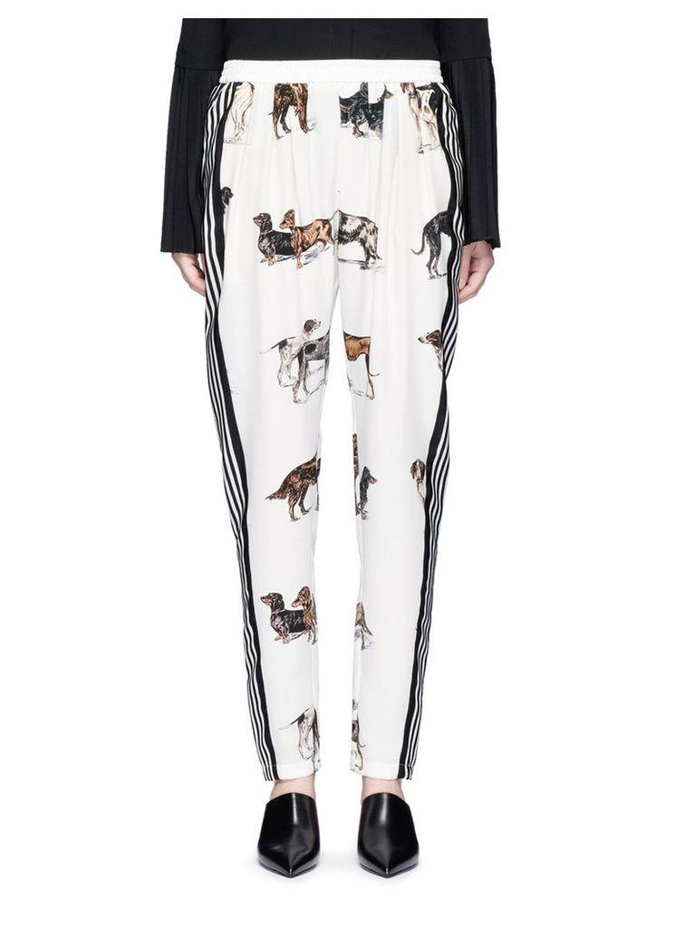 'Christine' stripe dog print silk pants