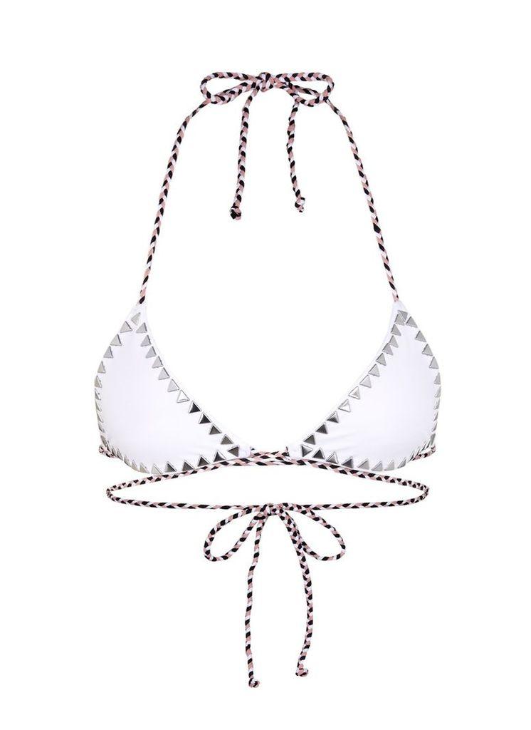 'The Vixen' cross front stud triangle bikini top