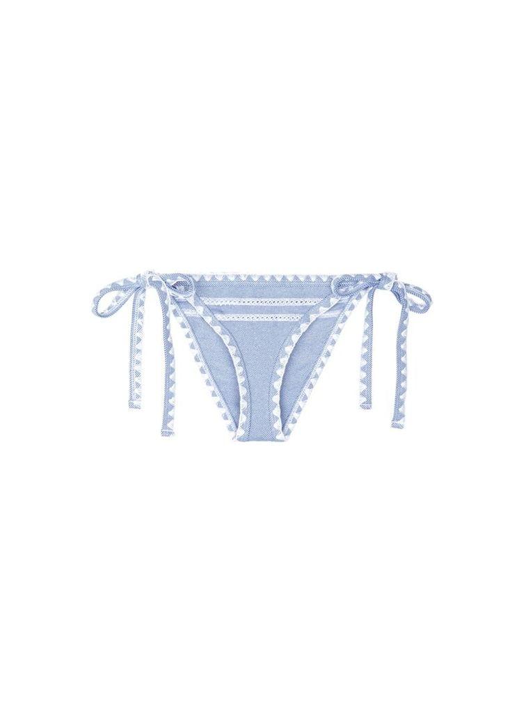 'The Tease' side tie denim effect bikini bottoms