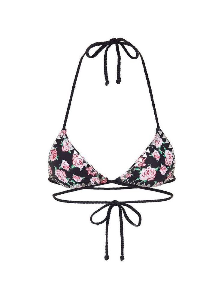 'The Vixen' stud floral print bikini top