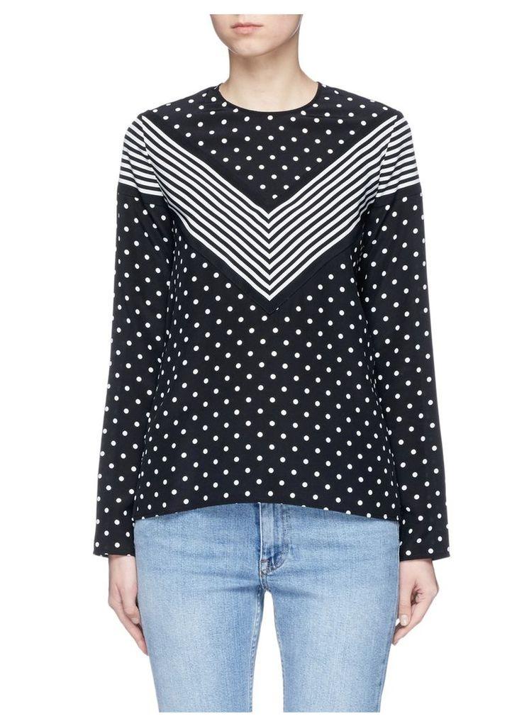 'Louisa' stripe polka dot print silk top