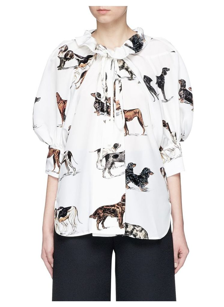 Tie neck puffed sleeve dog print silk shirt