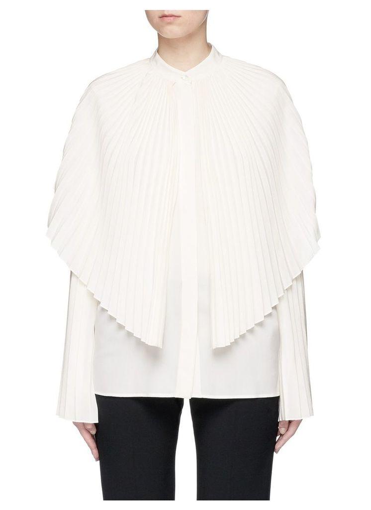 'Carissa' pleated cape overlay silk shirt