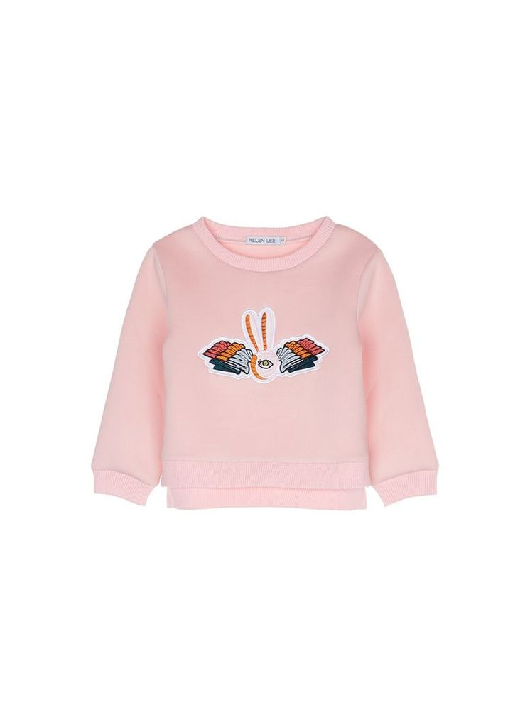 Bunny embroidered scuba jersey kids sweatshirt