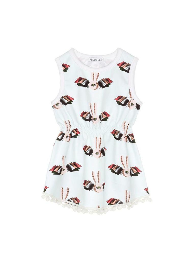 Bunny graphic print pompom sleeveless dress
