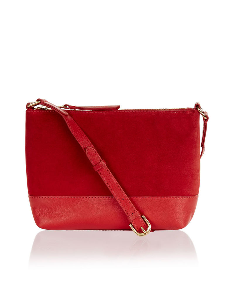 Aurora Suede And Leather Cross Body Bag